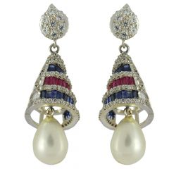 18kt White Gold With Gemstone Pearl Drop Jhumki - t-18ct5