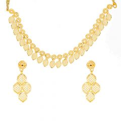 Glossy Finish Filigree Drop Leafy Design Gold Necklace Set