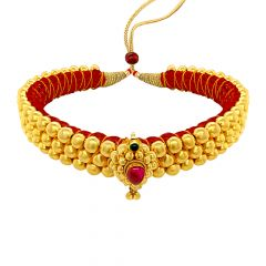 Ceremonial Hallow Bead Gemstone Gold Thushi