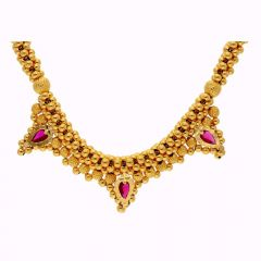 Glossy Finish Pink Stone Studded Thushi Gold Necklace-TH173