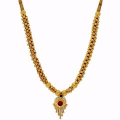 Glossy Finish Circle Drop Gold Ball Multicolour Thushi Gold Necklace-TH239
