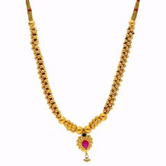 Glossy Finish Drop Gold Ball MultiColour Thushi Gold Necklace-TH248