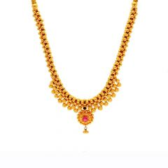 Glossy Finish Pink Stone Engraved Design Gold Ball Thushi Necklace -TH256