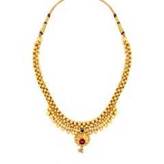 Traditional Gemstone Hallow Balls Gold Thushi