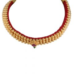Glossy Multicolour CZ Thushi Gold Chocker Necklace - THS575