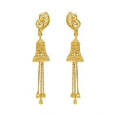 Unique Traditional Cutout Peacock Dangler Gold Earrings