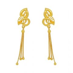 Elite Cutout Leaf Dangler Gold Earrings