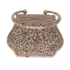 Silver 925 Antique Floral Design Purse With Carving Accessories