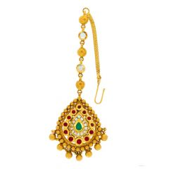 Matte Antique Finish Bead Ball Drop Design Studded With Synthetic Kundan Gold Maang Tikka