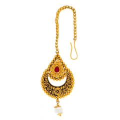 Glossy Antique Finish Leafy Floral Design Studded With Synthetic Pearl Kundan Gold Maang Tikka