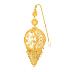 Glossy Finish Filigree Floral Drop Design Gold Maang Tikka