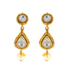 Antique Finish Drop Design With Natural Pearl Kundan Gold Earrings-TKA3