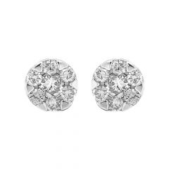 Sparkling Prong Set Stud Design Diamond Earrings