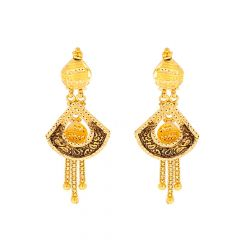Glossy Finish Oxidized Diamond Cut Floral Dangler Design Gold Earrings