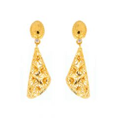 Glossy Finish Filigree Drop Design Studded With CZ Gold Earrings