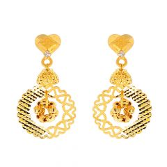 Glossy Hammer Finish Diamond Cut Heart Drop Circle Design CZ Studded Gold Earrings