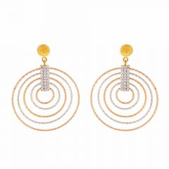 Glossy Finish Diamond Cut Drop Dangler Circle In Circle Design Studded With CZ Two Tone Gold Earrings