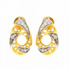 Sparkling Drop Design Two Tone With Synthetic Preal Studded Diamond Earrings