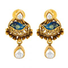 Antique Finish Enamel Drop Dangler Heart Design With Synthetic Kundan Studded Gold Earrings
