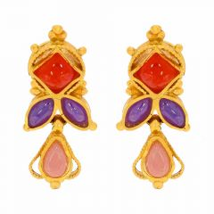 Matte Finish Stud Design Studded With Synthetic Colour Stone Gold Earrings