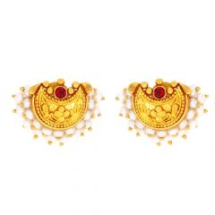 Glossy Finish Chandbali Floral Design Synthetic Pearl With Ruby Studded Gold Earrings