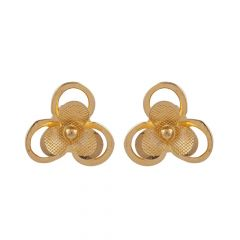 Glossy Finish Floral Gold Earring-TP12536