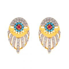 Glossy Finish Contemporary Design CZ Studded With Colour Stone Gold Earrings-TP1313