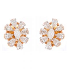 Sparkling Prong Set Marquise Cut Floral Design Rose Gold Diamond Earrings