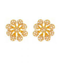 Glossy Finish Floral Blossom Design With CZ Studded Gold Earrings-TP1462