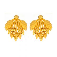 Matte Finish Leafy Bunch Of Grapes Design Gold Earrings-TP1561