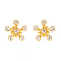 Glossy Finish Contemporary Design With CZ Gold Earrings-TP1680