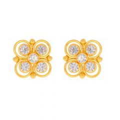 Glossy Finish Floral Design With CZ Gold Earrings-TP1681