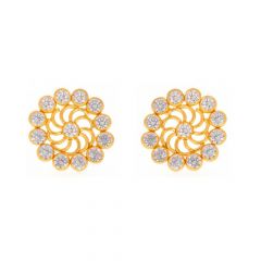 Glossy Finish Chakra Floral Design With CZ Studded Gold Earrings-TP1682