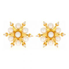 Glossy Finish Blossom Floral Design CZ With Natural Pearl Stud Gold Earrings-TP1705