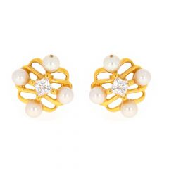 Glossy Finish Contemporary Design CZ With Natural Pearl Gold Earrings-TP1710