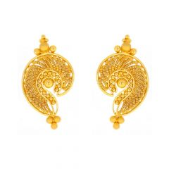 Matte Glossy Finish Curved Design With Gold Bead Ball Earrings-TP1779