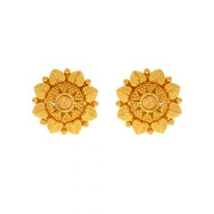 Traditional Textured Layered Floral Gold Earrings