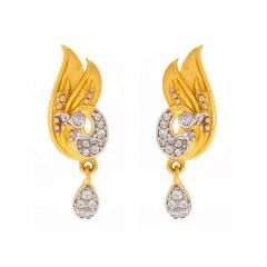 Matte Finish Peacock Drop Design With CZ Gold Earrings-TP549