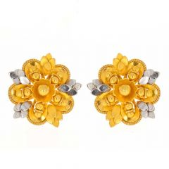 Satin Glossy Finish Rhodium Polish Leafy Floral Design Gold Earrings-TP801