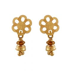 Glossy Diamond Cut Floral Gold Earring - TP8085