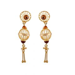 Glossy Multicolour Enamel Drop Gold Ball Earring - TP9277