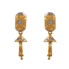 Glossy Sand Blast Finish Drop Jhumki Rhodhium Polish Gold Earring - TP9324