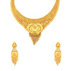 Traditional Textured Embossed Gold Necklace Set