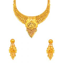 Traditional Textured Paisley Gold Necklace Set
