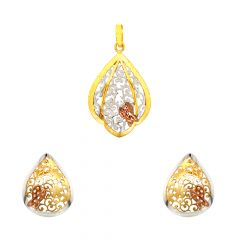 Elegant Cutout Floral Embossed Butterfly Gold Pendant Set