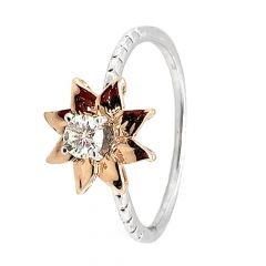 Elegant Glossy Finish Floral Design Two Tone Diamond Ring