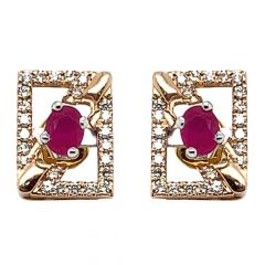 Glittering Two Tone Contemporary Design Synthetic Colour Stone Studded Diamond Earrings