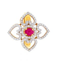 Sparkling Blossom Heart Floral Design Ruby Studded Diamond Ring