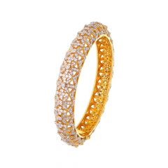 Glittering Dome Cutout Openable Diamond Bangle