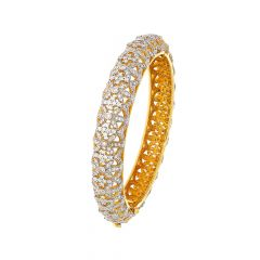Sparkling Dome Cutout Openable Diamond Bangle